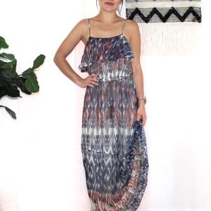 "Joie ""Rominette"" 100% Silk Ikat Maxi Boho Dress"